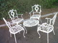 old metal low garden table + 4 chairs