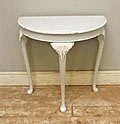 old painted half moon table