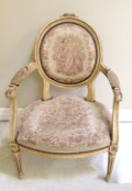 vintage french louis tapestry chair