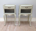 vintage french grey bedside tables