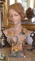 French Art Nouveau Plaster Bust