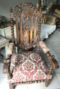 FRENCH ANTIQUE LOUIS XVIII THRONE CHAIR