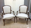 pair of old french armchairs with new linen upholstery