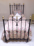 antique iron and brass short single bed
