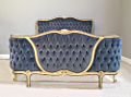 vintage french capitone double bed
