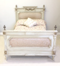 FRENCH ANTIQUE LOUIS XVI UPHOLSTERED BED