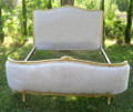 french antique gilded lxv capitone demi-corbeille bed