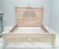 french antique painted cane bed with low foot end