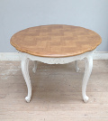 vintage French round extending dining table
