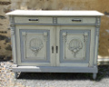 OLD FRENCH PAINTED BUFFET BASE / CUPBOARD