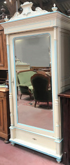 FRENCH ANTIQUE SINGLE DOOR PAINTED ARMOIRE