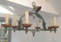 vintage french iron 6 branch light