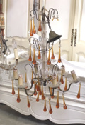 old french large amber glass chandelier