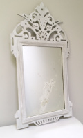 old french rustic wooden mirror