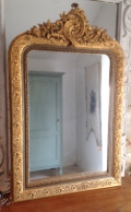 french antique rococo crested mirror