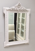 french antique crested painted mirror