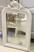 french antique crested foxed mirror