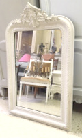 tall crested french antique mirror