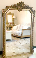 french antique large rococo crested mirror